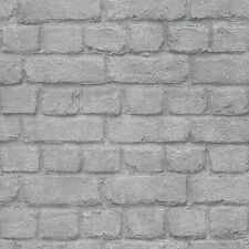 SILVER BRICK EFFECT WALLPAPER - RASCH 226751 - NEW