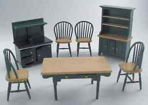 DOLLS-HOUSE-1-12th-SCALE-OLD-STYLE-GREEN-AND-PINE-7pc-KITCHEN-SET