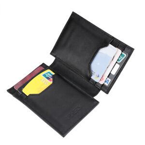 Men/'s Genuine Leather Money Clip Bifold Wallet Card Case Front Pocket Black UK