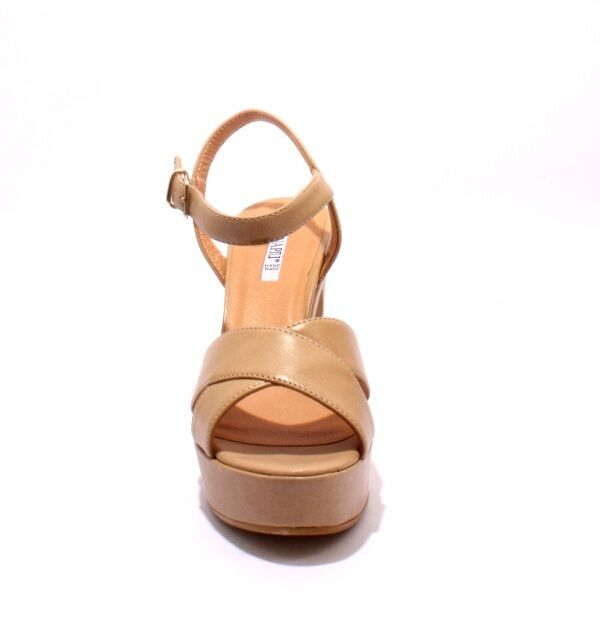 women Piu 5251a Beige Leather Leather Leather Platform Heel Ankle Strap Sandals 41   US 11 5d4abb