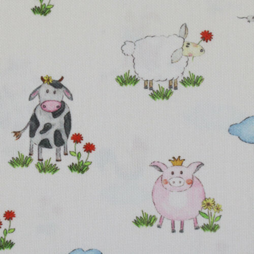 Gardinenstoff Stoff Dekostoff Meterware HOFGAUDI Bauernhof Tiere bunt