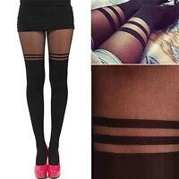 1x Black Sexy Women Temptation Sheer Mock Suspender Tights Pantyhose Stockings