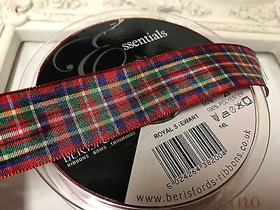 "1 Metre Tartan Red Beige Print Ribbon 22mm 1/"" Inch Cakes Bow Dummy Christmas"