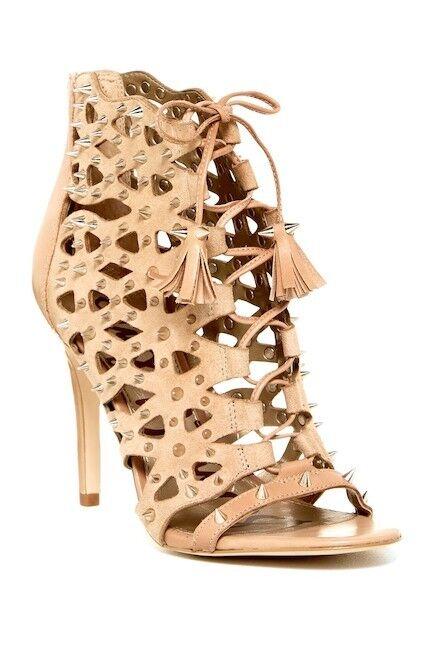 SAM EDELMAN Allison Open Toe Nude Laser Cut Ankle Spikes Stivali Shoes Sz 7 NEW