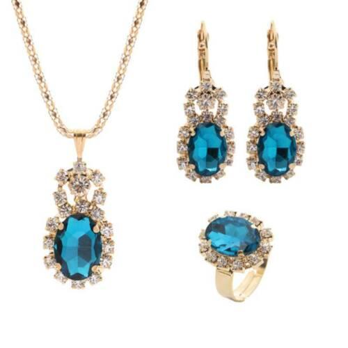 3pcs//set Women Girls Oval Drop Pendant Necklace Earrings Finger Ring Jewelry YU