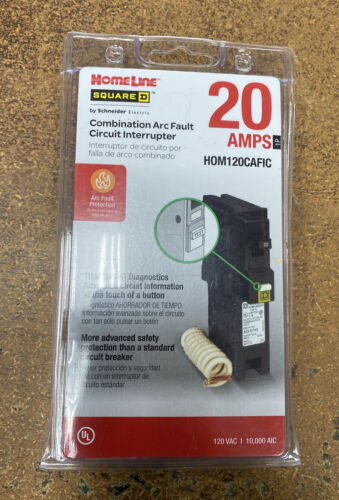 Homeline HOM120CAFIC 20 Amp Combination Arc Fault Circuit Breaker Single Pole