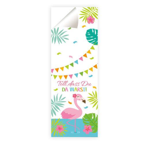 """dass du da warst!/"""" Flamingo Kindergeburtstag Aufkleber für Geschenktüten /""""Toll"""