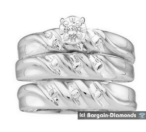 Diamond 07 carat 3Band Wedding Ring Set 14K Gold bridal engagement