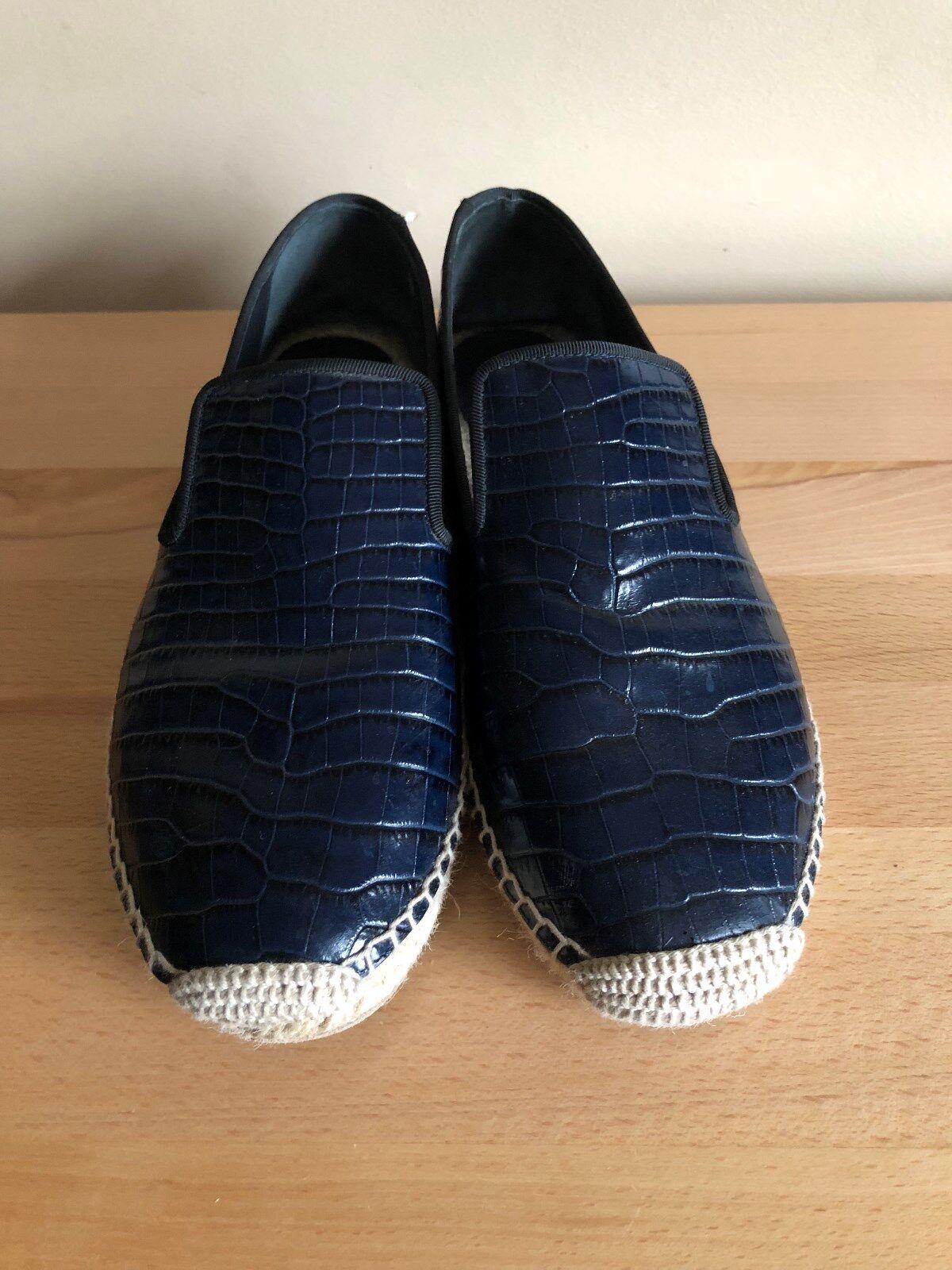 promozioni di squadra Celine Celine Celine Navy blu  Alligator  Leather Style Espadrille Slipper Flats Dimensione 39  spedizione gratuita