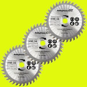 3x-85mm-HM-Kreissaegeblatt-Kreissaegeblaetter-fuer-Holz-85x10mm-Z-36-Einhell-Matrix