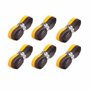 6 x Karakal Super DUO PU Replacement Grips Orange/Black Tennis Squash Badminton