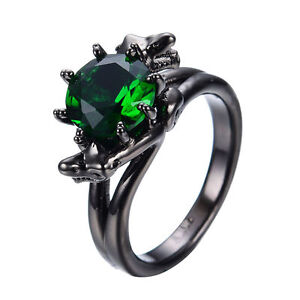 image is loading gothic snake green emerald wedding ring 10kt black - Emerald Wedding Ring