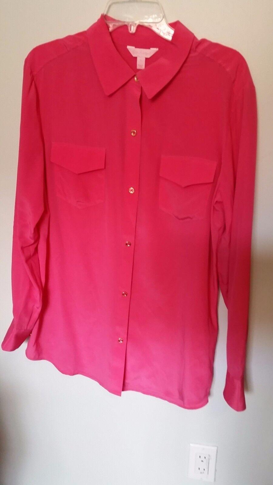 Lilly Pulitzer Rosa Silk Button Blouse - Größe L