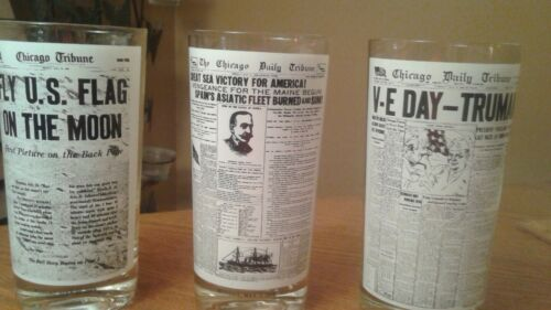 NEWSPAPER HEADLINE DRINKING GLASSES EXCELLENT CONDITION 3 DIFFERENT PAGES