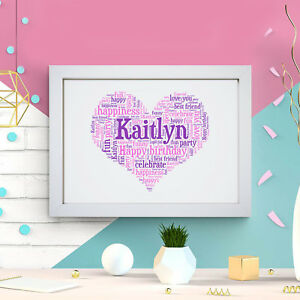 Personalised Heart Word Art Print Birthday Mum Daughter Sister Frame