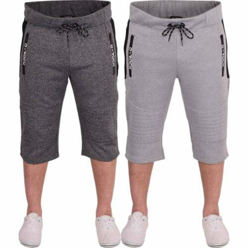Mens D Rock Long Cargo Combat Fleece 3//4 Length Shorts Casual Gym Zip Pockets