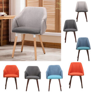 Linen Fabric Accent Chair Dining Room Kitchen Chairs Cushion Seat