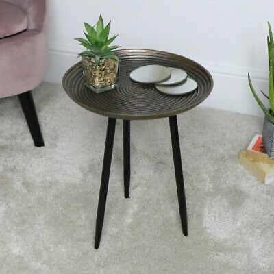 Oro Metallo Tavolino Rotondo Anticato Occasionale Soggiorno Moderno Mobili Ebay