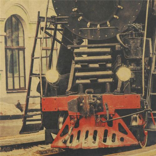 Vintage Steam Train Nostalgic Vintage Kraft Paper Poster Decor  Wall Sticker  AB