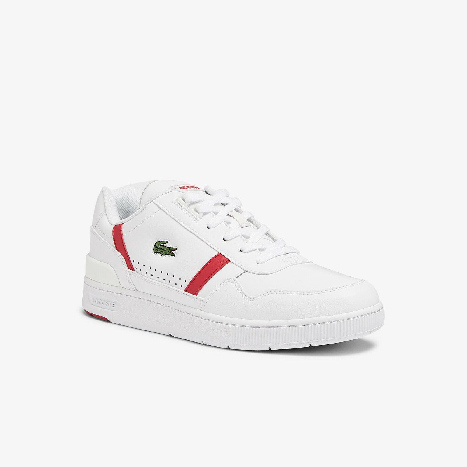 Lacoste mens T-CLIP 0721 2 SMA Leather wht/red RRP: