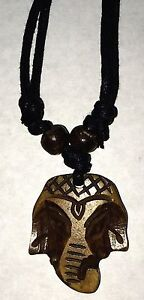 Carved Bone Elephant Pendant Adjustable Necklace Free Shipping In The Usa Ebay
