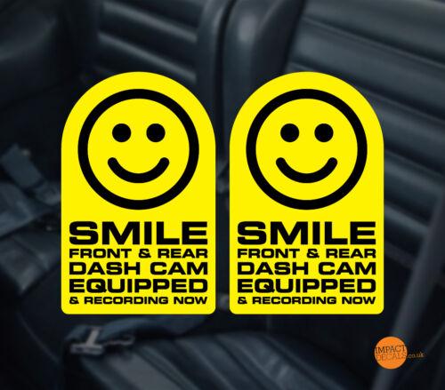 IN CAR CCTV WARNING STICKER PAIR 95x60mm SMILE Dashcam Window Decal//sticker