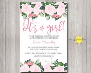 Custom printable baby shower invitation pink flowers and green leaf image is loading custom printable baby shower invitation pink flowers and filmwisefo