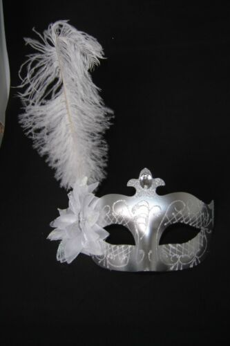VENETIAN MASQUERADE WHITE OSTRICH FEATHER SILVER GLITTER MASK WITH JEWELS NEW