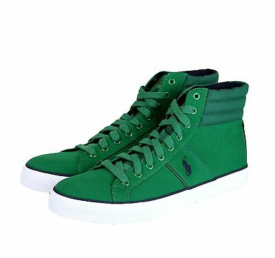 New Authentic Polo Ralph Lauren Bawtry Canvas High Top Sneaker w/Logo, Green