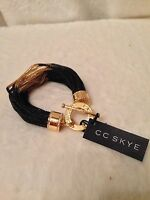 Cc Skye Midnight Womens Bracelet In Black/gold Multi Strand - 1 Pc Retail $195