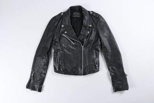 Zara Black Leather Motorcycle Moto Biker Jacket Bl