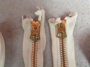Vintage-Pair-1950s-Ideal-Brass-Bell-Tab-Zippers-22-5-034-White-Cotton-Closed-End-2
