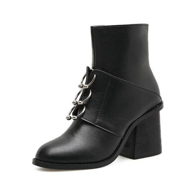 stivali stivaletti bassi scarpe alto  8 cm nero eleganti simil pelle 9457