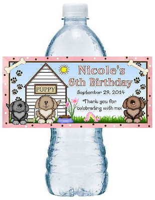 20 PUPPIES DOGS BIRTHDAY PARTY FAVORS ~ WATER BOTTLE LABELS