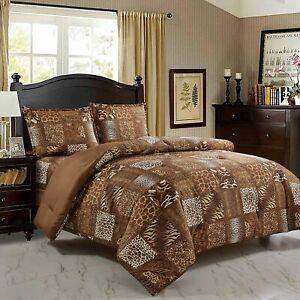 WPM 3 Piece Animal Print Comforter with Pillow Sham, Chocolate Brown Leopard Zeb