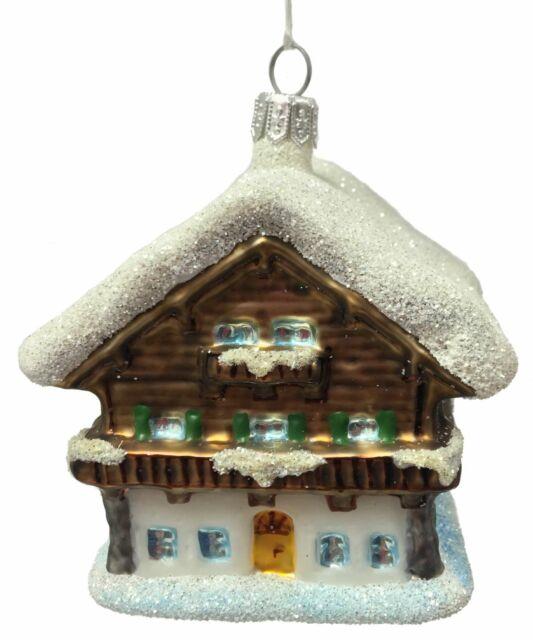 Swiss Ski Chalet Winter Cottage Polish Glass Christmas ...