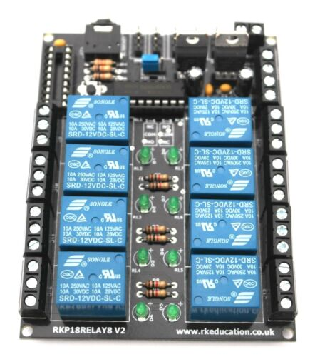 RKP18Relay8 8 Channel Relay Module PCB designed for PICAXE-18M2 /& Genie-E-18