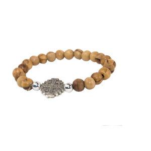 Stretch-Bracelet-Olive-Wood-Beads-w-Metal-Jerusalem-Cross-Hand-Made-Jerusalem