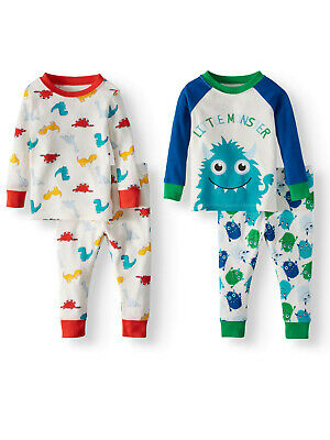 Wonder Nation Baby Boy Cotton Tight Fit Pajamas 4-Piece Set Pjs 12 Months