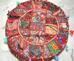 """Home & Garden Furniture 100% True Indian Handmade Round Pouf Cover Vintage Cotton Ottoman Patchwork Red 18"""" Inches"""