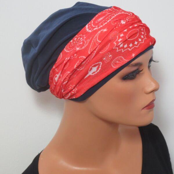 * 2tlg. Set * Beanie + Cinta Del Pelo Azul Oscuro Rojo Alopecia Chemomütze Pérdida De Cabello-ver Tener Un Estilo Nacional úNico