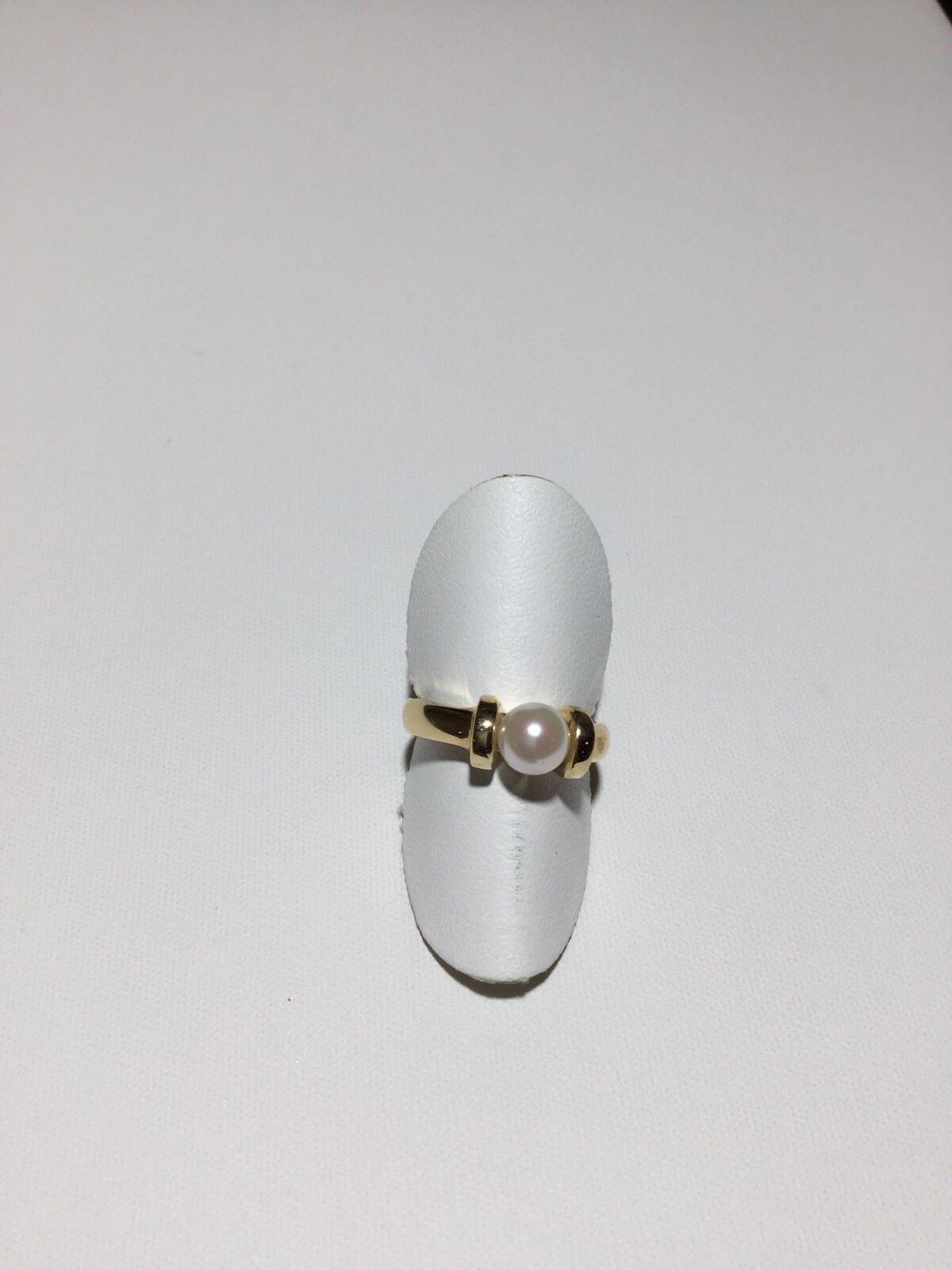 14 kt yellow gold ring with 7 mm pearl