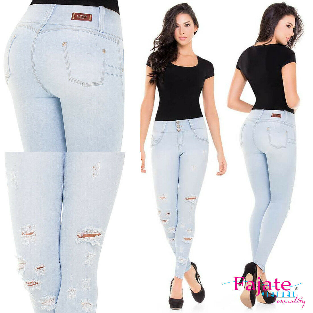 High Waistband Colombian Butt Lifter Jeans Skinny Stretch Push Up Pants Jeggings