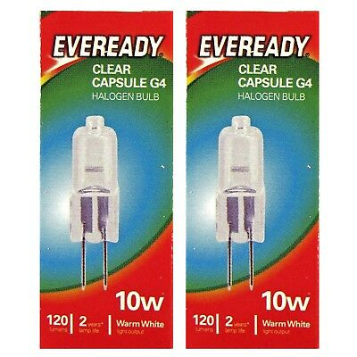 10Pcs G4 Eveready Halogen Capsule Light Bulbs Replace LED Lamp 12V 10W UK