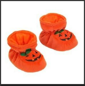 a57adf42e4f21 Details about HALLOWEEN BABY BOOTIES Soft Shoes 0-6M 6-12M Orange Pumpkin  Costume Infant NEW