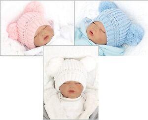 Baby-Kinder-Muetze-Warm-Herbst-Winter-TOP-Strickmuetze-mit-Bommeln-Englandmode