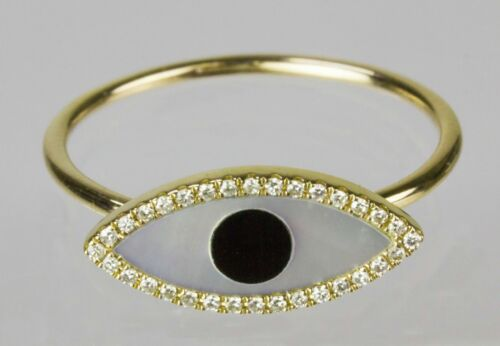 Evil Eye Ring with Mother of Pearl /& Diamond in 14k Y//W//R Gold Dia. 0.08cts