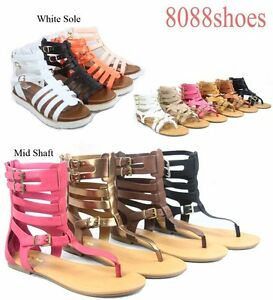 Women-039-s-Cute-Zip-Thong-Buckle-Strappy-Gladiator-Flat-Sandal-Shoes-Size-5-11-NEW