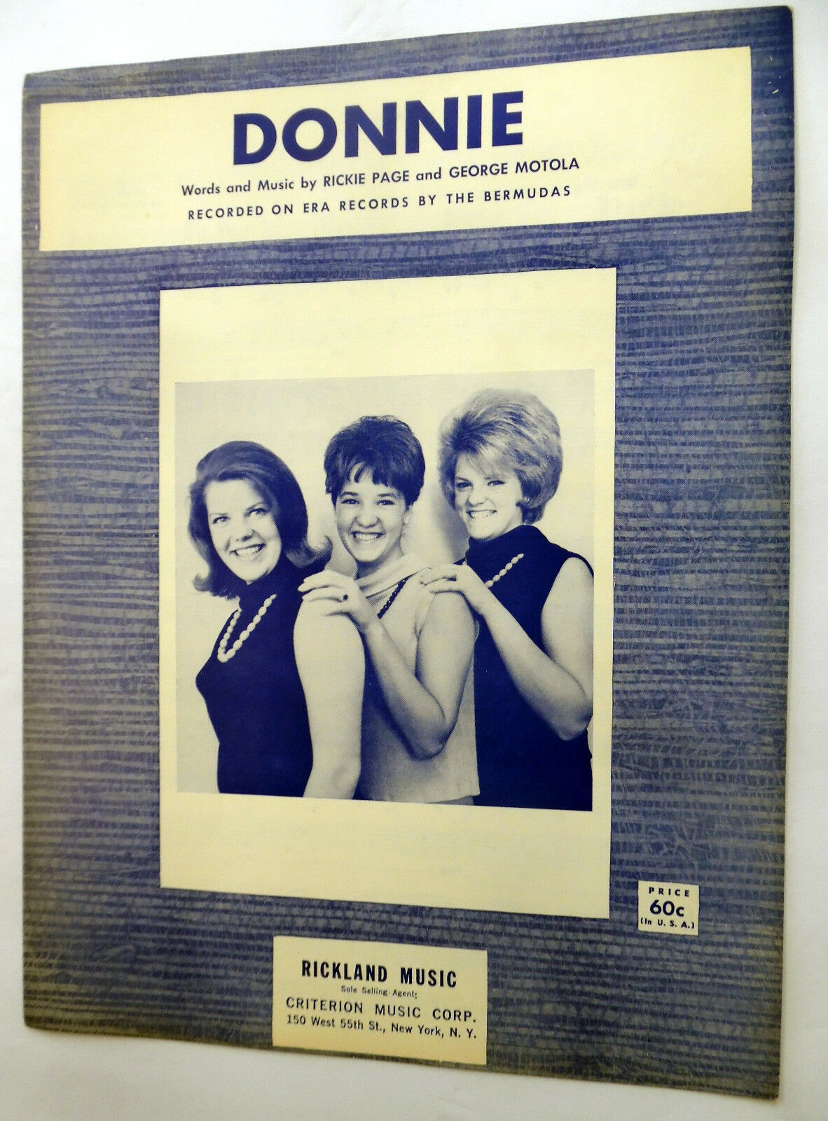 The BERMUDAS Sheet Music DONNIE Girl GROUP 60's CRITERION Publ. POP Excellent