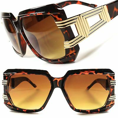 Gold Tortoise Sawg Hip Hop Rapper DJ Mens Womens Retro Oversized Sunglasses C39C